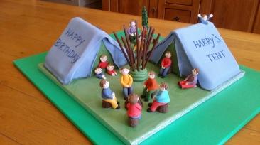 Children's camping themed chocolate cake