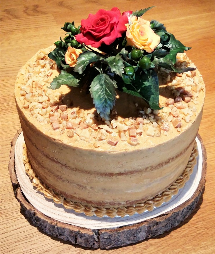 Coffee walnut cake with sugar flowers