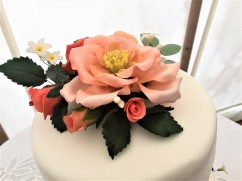 Close-up peach sugar flowers