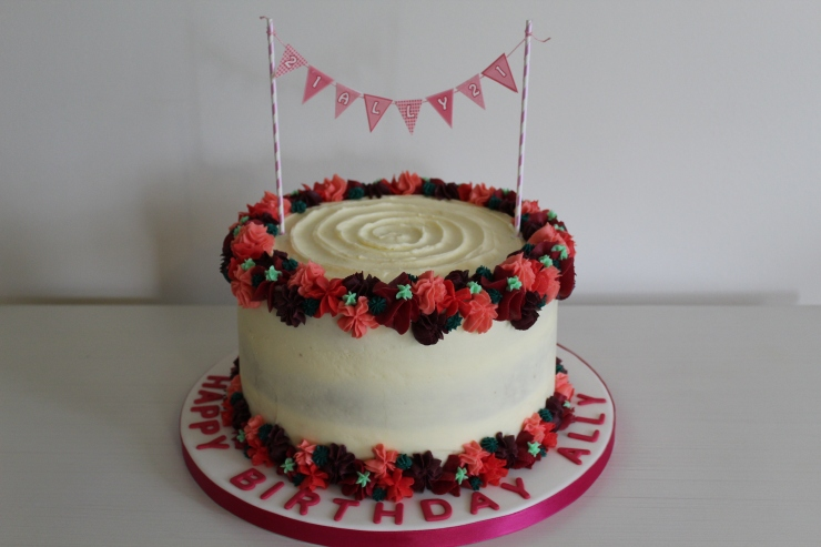 Buttercream flowered carrot cake