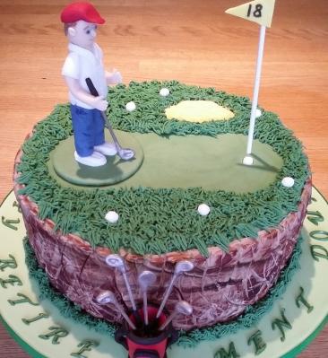 Golf themed chocolate fudge cake
