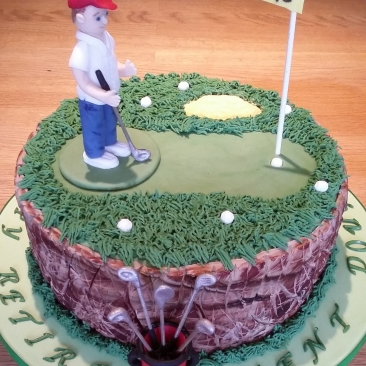 Golf themed chocolate fudge cake