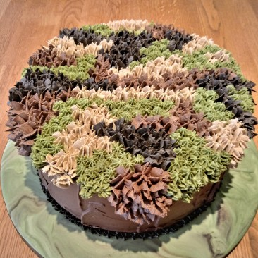 He loved everything 'Camouflage' - rich chocolate cake with chocolate ganache